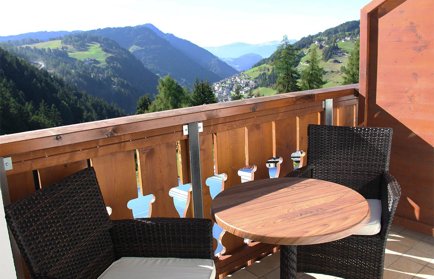 A balcony with valley view