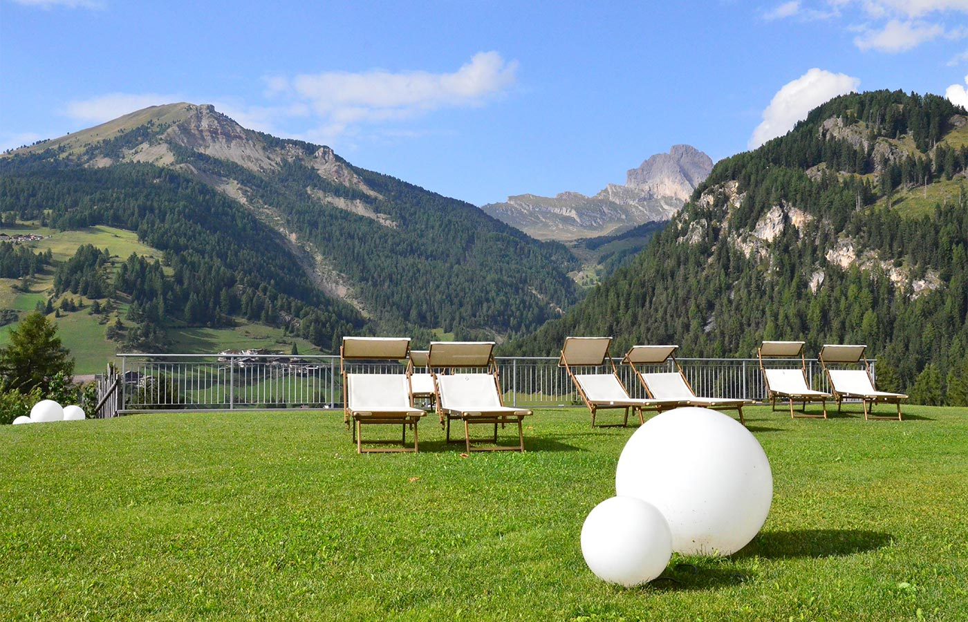 Outdoor relax area in spa Hotel Dolomites