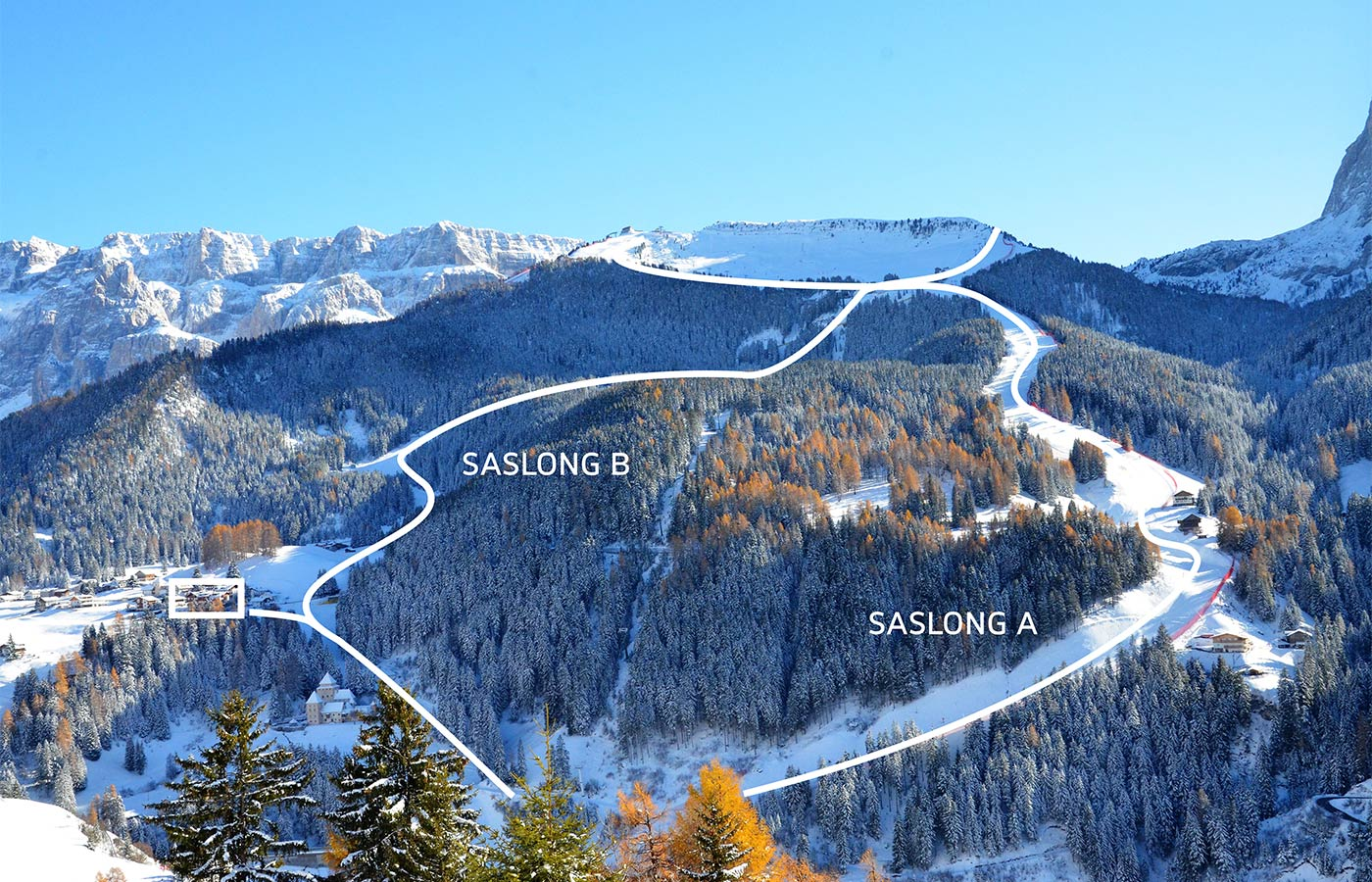 Map of the ski slopes overlooking the Hotel in Selva Val Gardena