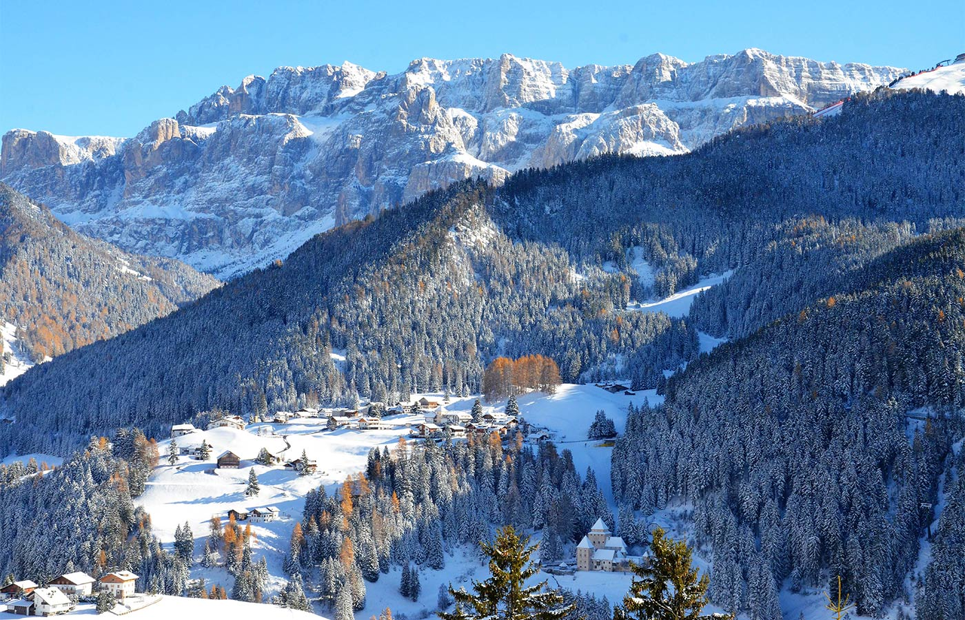 Selva di Val Gardena viewed from Chalet Dlaces